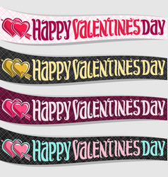 ribbons for st valentines day vector image vector image