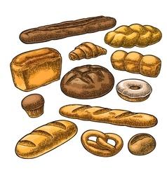 Set bread black vintage engraving vector image vector image
