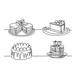 set continuous line drawing of big cake vector image vector image