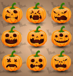 Set of 9 halloween pumpkins vector