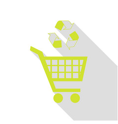 Shopping cart icon with a recycle sign pear icon vector