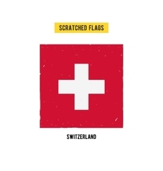 Swiss grunge flag with little scratches on surface vector