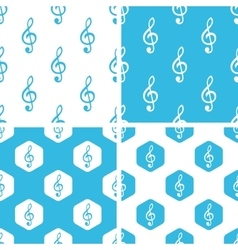 Treble clef patterns set vector