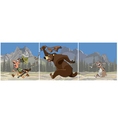 triptych cartoon bear chasing a hunter vector image