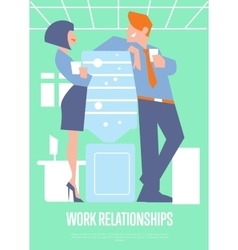 Work relationships banner with business people vector