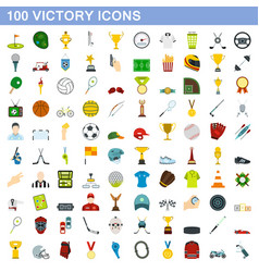 100 victory icons set flat style vector