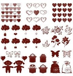 Valentine silhouettes set vector