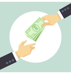 Hand giving money donation charity payment vector