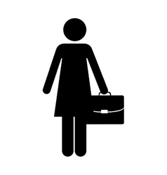 Business woman and briefcase icon image vector