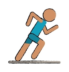 Drawing athletic runner sport active vector