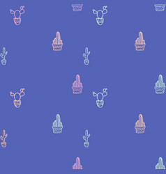 doodle hand drawn seamless patterns with cactus vector image