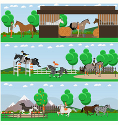 Set of horse riding posters banners in vector