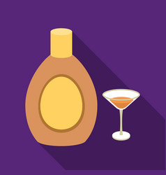 Chocolate liqueur icon in flat style isolated on vector