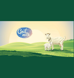 country landscape with goat and kid in the vector image
