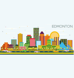 Edmonton skyline with color buildings and blue sky vector