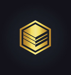 Cube data business gold logo vector