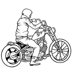 Motorcycle and driver vector