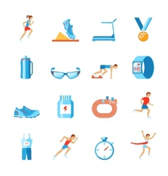 Running icons flat vector