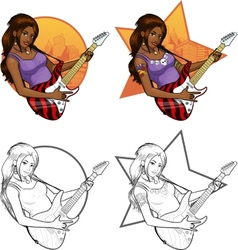 Rock star guitarist indonesian girl on background vector