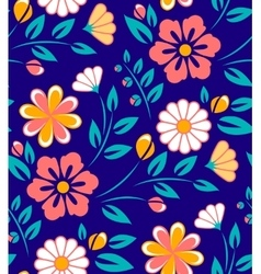 Seamless spring flower pattern on blue background vector