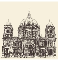 Berlin cathedral berliner dom germany hand drawn vector
