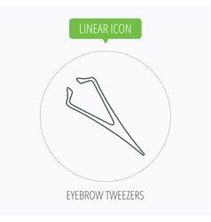 Eyebrow tweezers icon cosmetic equipment sign vector