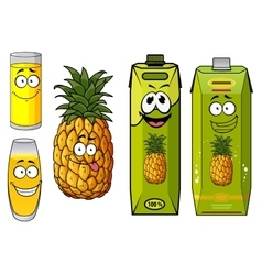 Pineapple juice packs fruit and glasses vector