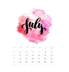 Calendar with watercolor paint 2016 design vector image