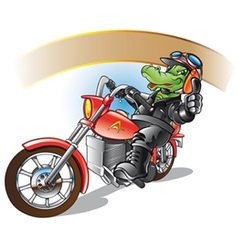Alligator on a motorbiker vector