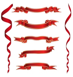 Set of red ribbons with golden stripes vector