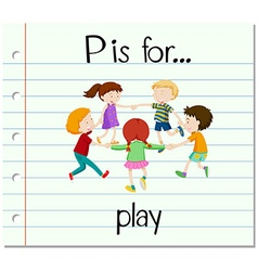 Flashcard letter p is for play vector