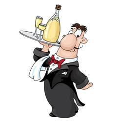 Waiter with bottle vector