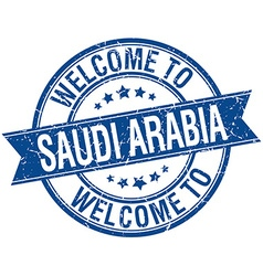 Welcome to saudi arabia blue round ribbon stamp vector