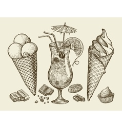 Food dessert drink hand drawn vintage ice cream vector