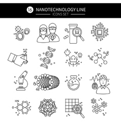 Nanotechnology linear icons set vector