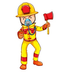 A fireman wearing a yellow uniform vector image