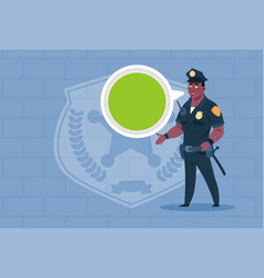 African american policeman with chat bubble vector