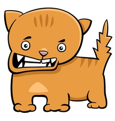 Angry kitten cartoon character vector