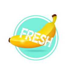 Banana label design fresh tropical juice sticker vector