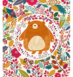 Bear in autumn forest vector image