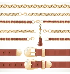 Belt on chain with a tassel leather belt buttoned vector