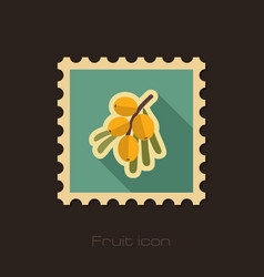 Branch of sea-buckthorn berries stamp berry vector