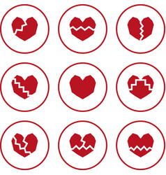 Broken heart icons vector