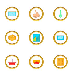 browser settings icons set cartoon style vector image