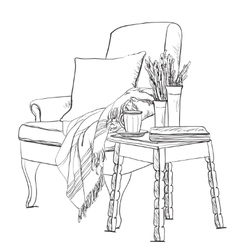 Chair sketch style Blanket on vector image