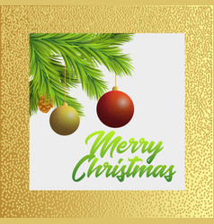 christmas tree branches with red and gold vector image vector image