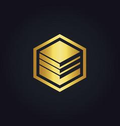 Cube data business gold logo vector