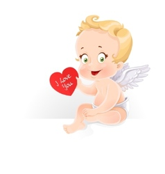Cute Cupid sitting on horizontal banner and gives vector image vector image