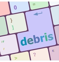 Debris word on computer pc keyboard key vector