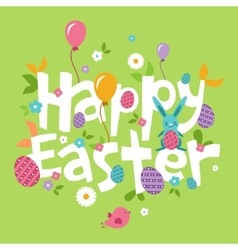 Easter spring inscription with the hare flowers vector image vector image